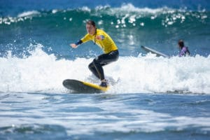 Catching the first waves in Playa de Las Americas