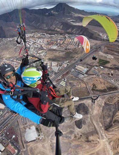 Tandem paragliding flight Tenerife